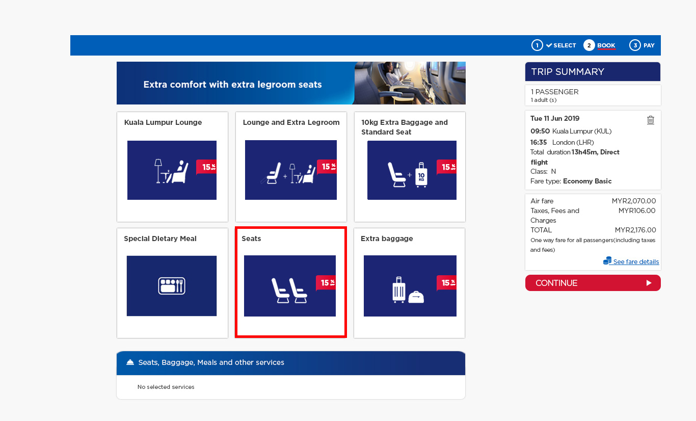 15% off Advance Seat Selection