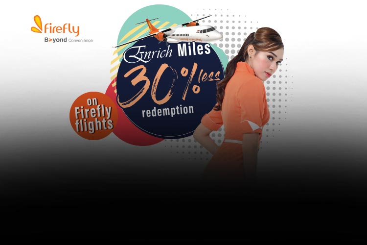 Enjoy 30% Off Enrich Miles with Firefly!