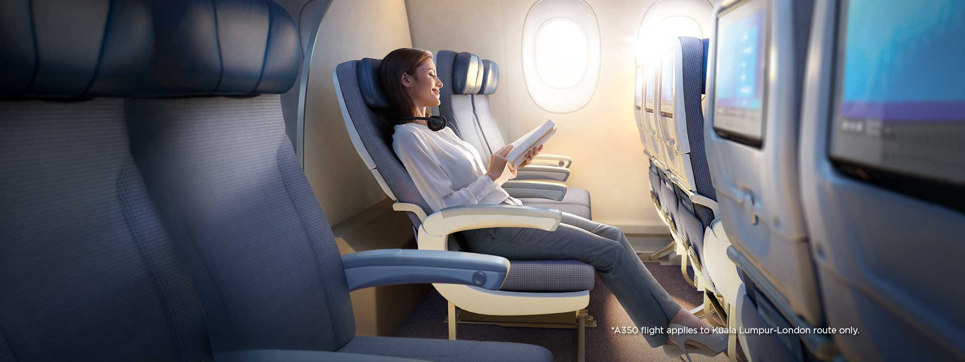 Travel to London in the spacious *A350
